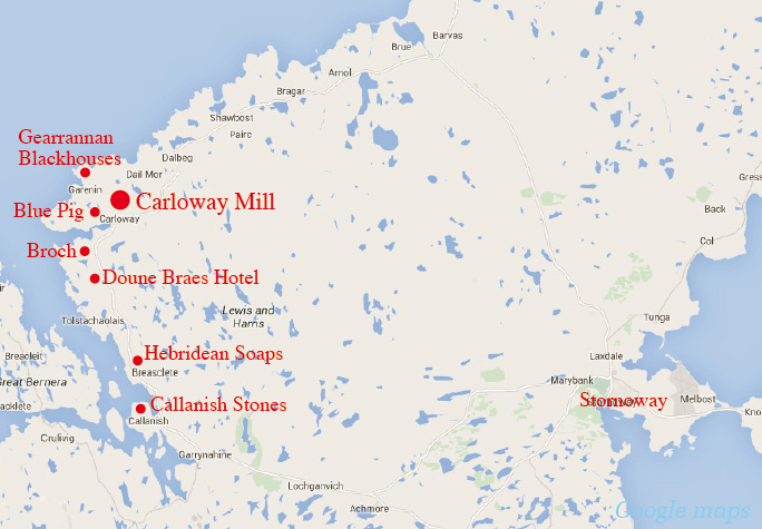 Map of places to visit en-route to Carloway Mill